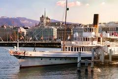 lakefront Geneva cruise ship cityscape boat Switzerland stock photography