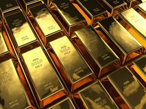 Rows of bullion, color background royalty free stock photo