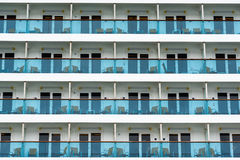 Rows of cabins on a cruise liner Stock Images