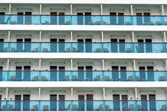 Rows of cabins on a cruise liner Stock Photo