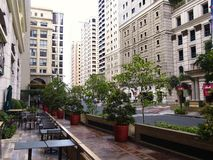 Rows of cafes and restaurants as well as site attractions at the Eastwood City Royalty Free Stock Photography