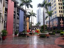 Rows of cafes and restaurants as well as site attractions at the Eastwood City Stock Images