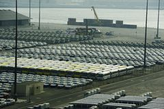 Rows of Cars and coaaches Royalty Free Stock Images