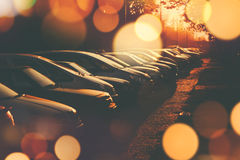 Rows of cars parked in residential district Royalty Free Stock Photo