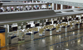 Rows of cash at Vnukovo airport, Moscow, Russia Stock Photo
