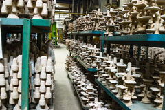 Rows of castings in factory Royalty Free Stock Image
