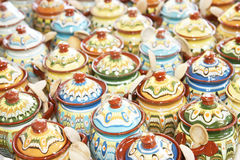 Rows of ceramic jugs Stock Images