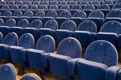 Rows of chairs in cinema or theater Royalty Free Stock Images