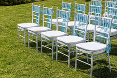 Rows of chairs for guests at a wedding ceremony. Royalty Free Stock Photo