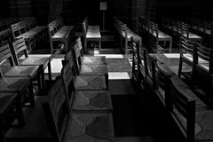 Rows of chairs inside Cathedral, Stock Photo