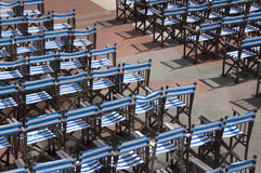 Rows of Chairs for an Outdoor Concert. Rows of chairs set out for an outdoor concert Stock Photos