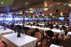 Rows of chairs and tables in restaurant Stock Image