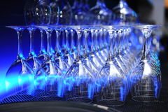 Rows of champagne glasses Stock Image