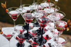 Rows of Champagne Glasses with Color Cocktails. Wedding Reception. Selective Focus stock photo