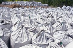 Rows of charcoal bags Stock Image