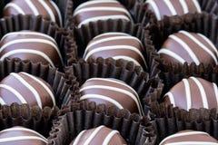 Up close macro of chocolates stock images