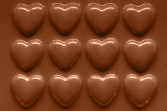 Rows of Chocolate hearts Royalty Free Stock Photography