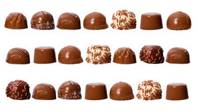 Rows of chocolate pralines Royalty Free Stock Photo