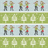 Rows of Christmas elves dancing in snow with trees Royalty Free Stock Photo