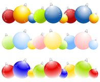 Rows of Christmas Ornaments. A clip art illustration of 3 rows of Christmas ornaments - bold colors, pastel colors and lit from the bottom for use as logos Royalty Free Stock Photo