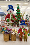 Rows of Christmas toys in the supermarket Siam Paragon in Bangkok, Thailand. Royalty Free Stock Images