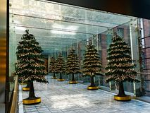 Christmas Tree Decorations in Glass Enclosed Walkway Royalty Free Stock Photo