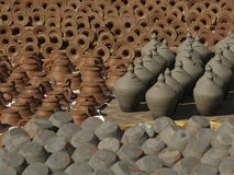 The rows of clay pots Royalty Free Stock Photos