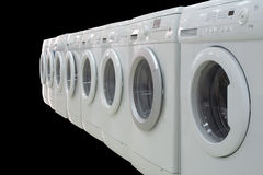Rows of clothes washers Royalty Free Stock Image