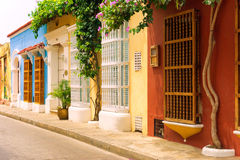 Rows of Colonial Houses in Cartagena Royalty Free Stock Image