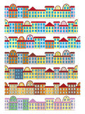 Rows of color buildings. Set of seamless rows of color buildings Royalty Free Stock Photography