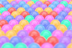 Rows of Color Glass Shine Balls with Reflections. 3d Rendering. Rows of Color Glass Shine Balls with Reflections extreme closeup. 3d Rendering Royalty Free Stock Photo