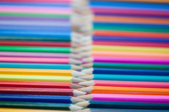 Rows of color pencils Royalty Free Stock Photography