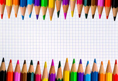 Rows of color pencils Stock Photo