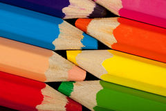 Rows of color pencils Royalty Free Stock Photo