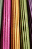 Rows of colored aroma sticks Royalty Free Stock Photography