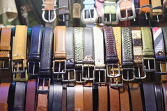 Rows of colored belts in san lorenzo , florence Royalty Free Stock Images
