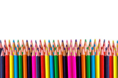 Rows of colored pencil Royalty Free Stock Image