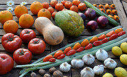 Rows of colorful fruit and vegetables stock photo