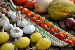 Rows of colorful fruit and vegetables Stock Photos