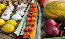 Rows of colorful fruit and vegetables Stock Photography