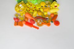 Rows of colorful rainbow toy bears.Very many kids toys rainbow color.Kids toys frame on white background. Top view. Flat lay. stock images