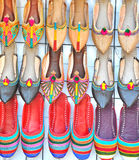 Rows of colorful shoes Royalty Free Stock Images