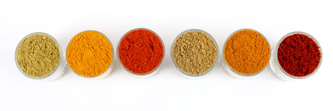 rows of colorful spices Stock Photos
