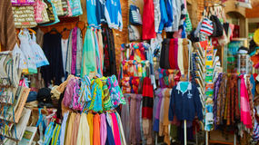 Rows of colourful silk scarfs hanging at a market. Stall in Sorrento, Italy Royalty Free Stock Photos