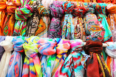 Rows of colourful silk scarfs Stock Photos