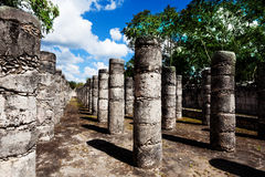 Rows of columns, Chichen Itza monument in Mexico Royalty Free Stock Images