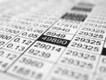 Rows and columns of numbers Stock Photo