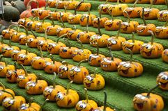 Rows of comical painted gourds Stock Photo