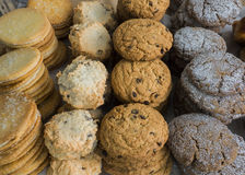 Rows of cookies. Cookies stacked and in rows at farm market Stock Images