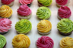 Rows of cupcakes. Yellow, green and pink cute cupcakes Royalty Free Stock Photography